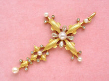 Load image into Gallery viewer, ANTIQUE ART NOUVEAU .88ctw PEAR & ROSE DIAMOND PEARL 18K HUGE CROSS PENDANT 1900