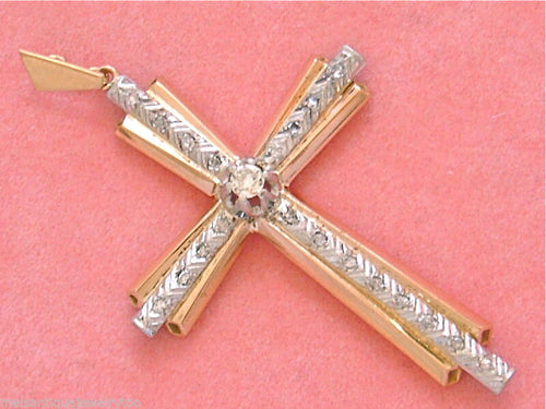 "ANTIQUE .32ctw EURO DIAMOND 18K PINK GOLD & PLATINUM 2-3/16"" CROSS PENDANT 1930"