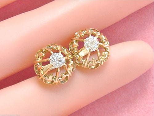 ANTIQUE .64ctw EUROPEAN DIAMOND 14K GOLD UNIQUE SETTING STUD EARRINGS 1930