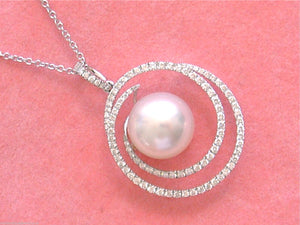 "ESTATE .77ctw DIAMOND 12mm SOUTH SEA PEARL SWIRLING PENDANT 18"" NECKLACE ITALY"