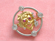 Load image into Gallery viewer, .92ctw MINE DIAMOND RUBY BACCHUS DIONYSUS ROMAN GREEK WINE GOD BROOCH PIN 1920