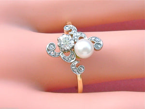 ANTIQUE ART NOUVEAU .52ctw. EURO DIAMOND 5.8mm NATURAL PEARL RING 1910 size 11