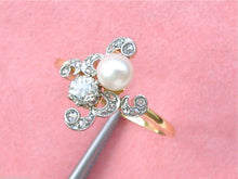 Load image into Gallery viewer, ANTIQUE ART NOUVEAU .52ctw. EURO DIAMOND 5.8mm NATURAL PEARL RING 1910 size 11