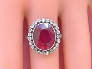 ESTATE EDWARDIAN STYLE 7.89ct RED TREATED RUBY .72ctw DIAMOND PLATINUM OVAL RING