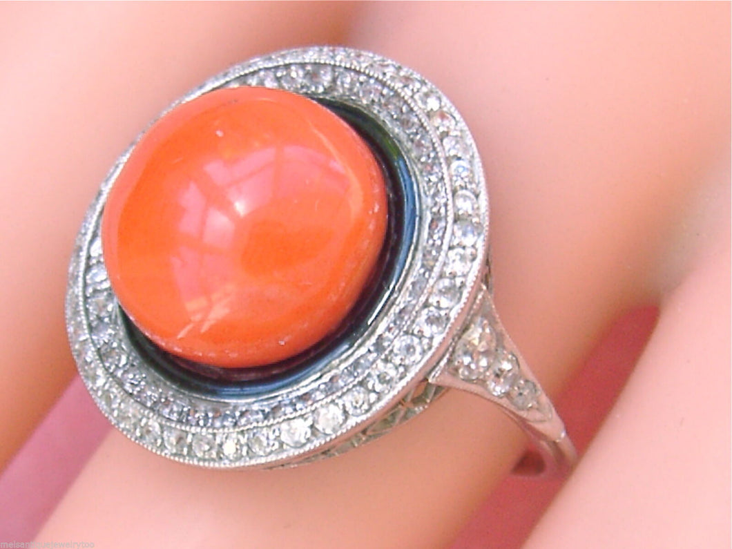 ANTIQUE ART DECO .90ctw EURO DIAMOND 12mm RED CORAL PLATINUM COCKTAIL RING 1930