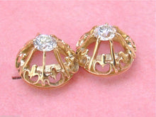 Load image into Gallery viewer, ANTIQUE .64ctw EUROPEAN DIAMOND 14K GOLD UNIQUE SETTING STUD EARRINGS 1930