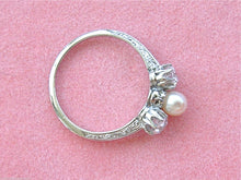 Load image into Gallery viewer, ANTIQUE .66ctw 2 EURO DIAMONDS 4.5mm NATURAL PEARL CENTER TRILOGY RING 1910