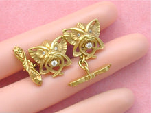 Load image into Gallery viewer, ANTIQUE .20ctw DIAMOND 18K CAT BAT MYTHOLOGICAL FANGED HEAD CUFFLINKS 1910