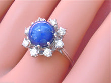 Load image into Gallery viewer, VINTAGE .68ctw DIAMOND HALO 10mm STAR SAPPHIRE 14K COCKTAIL RING / MOUNTING 1960