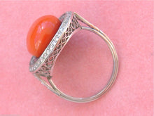 Load image into Gallery viewer, ANTIQUE ART DECO .90ctw EURO DIAMOND 12mm RED CORAL PLATINUM COCKTAIL RING 1930