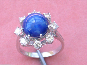 VINTAGE .68ctw DIAMOND HALO 10mm STAR SAPPHIRE 14K COCKTAIL RING / MOUNTING 1960