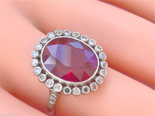 Load image into Gallery viewer, ESTATE EDWARDIAN STYLE 7.89ct RED TREATED RUBY .72ctw DIAMOND PLATINUM OVAL RING