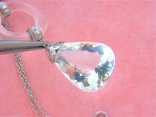 Load image into Gallery viewer, DECO 1.25ctw DIAMOND BIG AQUAMARINE DROP ROCK CRYSTAL PENDANT STATEMENT NECKLACE