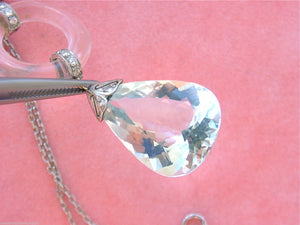DECO 1.25ctw DIAMOND BIG AQUAMARINE DROP ROCK CRYSTAL PENDANT STATEMENT NECKLACE