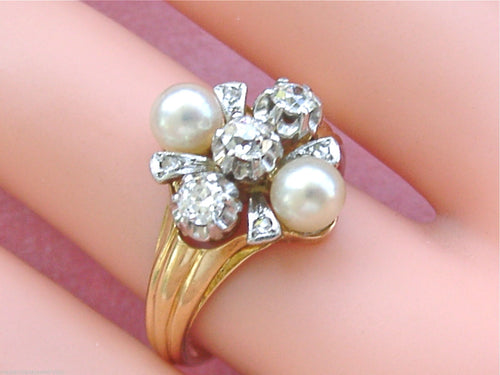 ANTIQUE .62ctw MINE DIAMOND PEARL 18K PLATINUM UNIQUE TRINITY TRILOGY RING 1940
