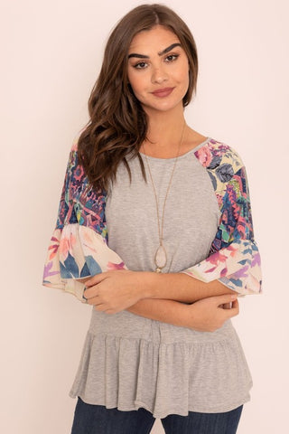 V-Stitch Floral Trim Tunic
