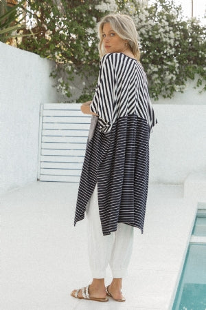 Oversized, Striped, Mixed Knit Cardigan