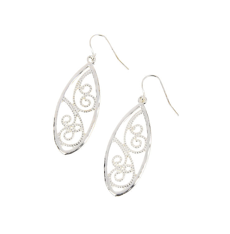 Silver Spiral Marquise Earrings