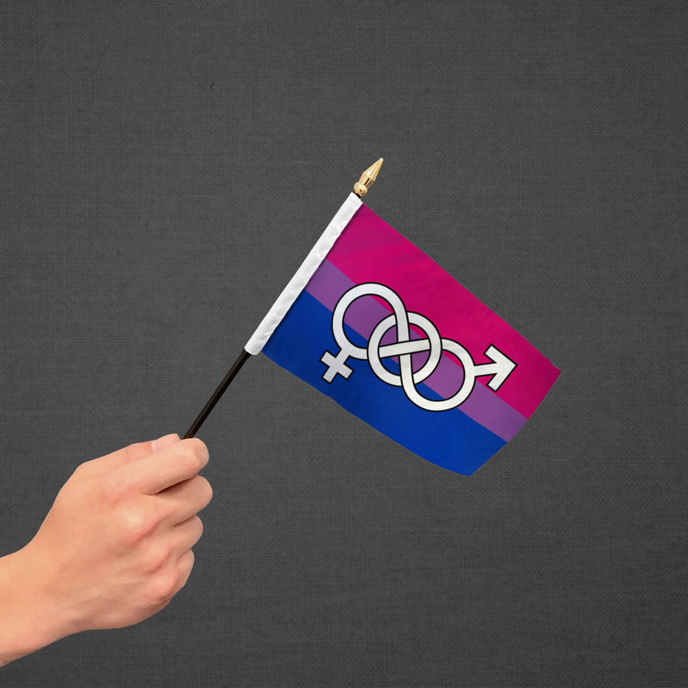 Bisexual Symbol Stick Flag 4x6in