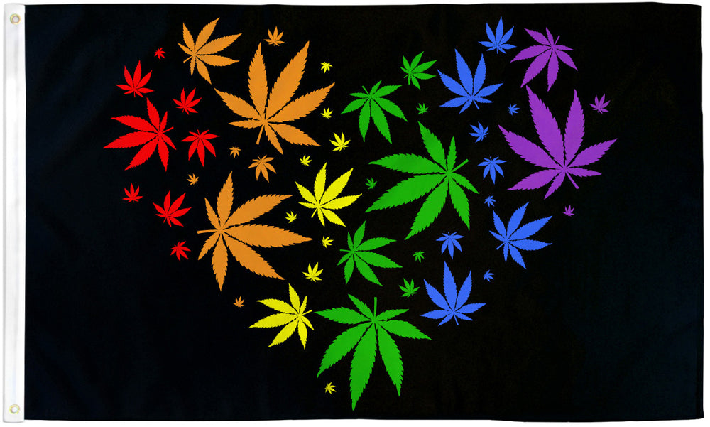 Marijuana Rainbow Love Flag 3x5ft