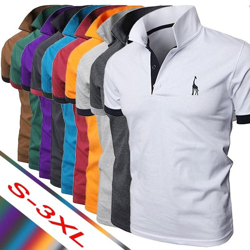 2019 di Es2019 Summer Men's Polo Multi-Color Deer Polo Shirt Men's Short Sleeve Slim Fit Tops