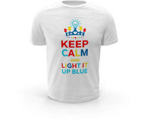 Keep Calm and Light it Up Blue - Autism T-Shirt