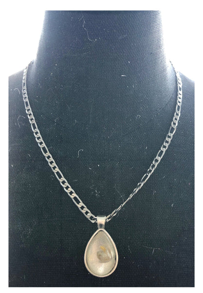 Silver Tear Drop Pendant Cannabis Seed Necklace