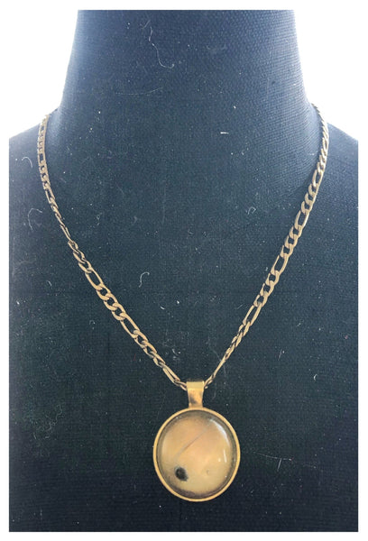 18 Karat Gold Plated Seed Necklace with Circle Pendant