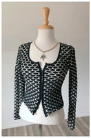 Vintage Black & White Scrunchy Blouse - Size Medium