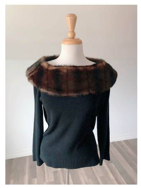 Vintage Black Knit with Faux Fur  - Size Medium