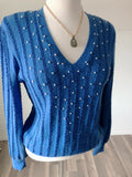 Vintage Blue V Neck Sweater - Size Small - Medium