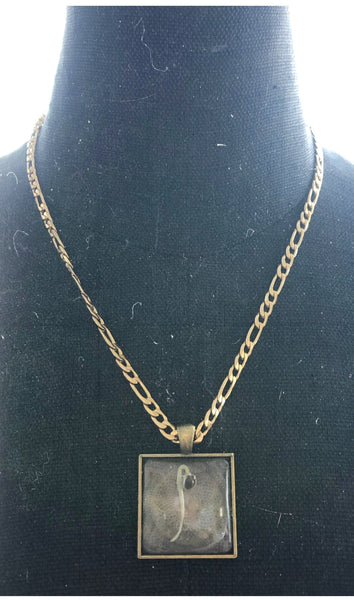 Gold Square Pendant Cannabis Seed Necklace