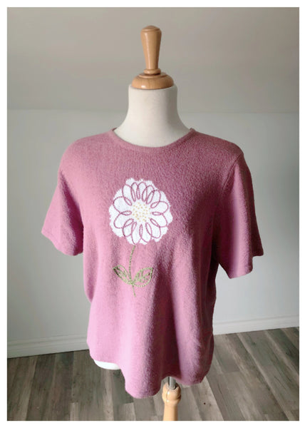 Vintage Flower Knit with Short Sleeves - Size Medium