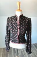 Vintage Black & Brown Paisley Cardigan  - Size Small