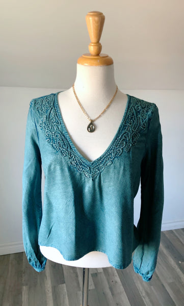Vintage Hennessy Boho Peasant Sleeve Top - Size Small - Med