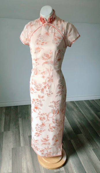 Vintage Peach Traditional Asian Gown - Size Extra Small