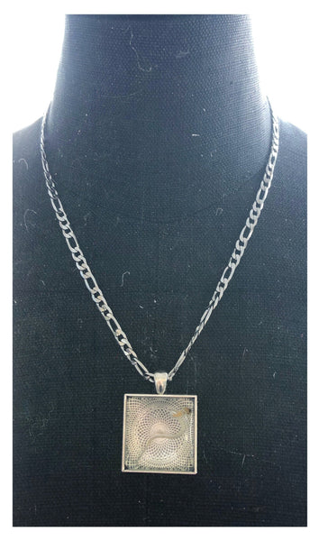 Silver Plated Cannabis Seed Necklace with Square Pendant