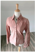 Pink Suede Button up Blouse with design detail on sleeves
