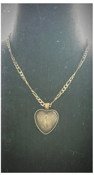 18 K Gold Plated Cannabis Seed Necklace w/ Heart Pendant