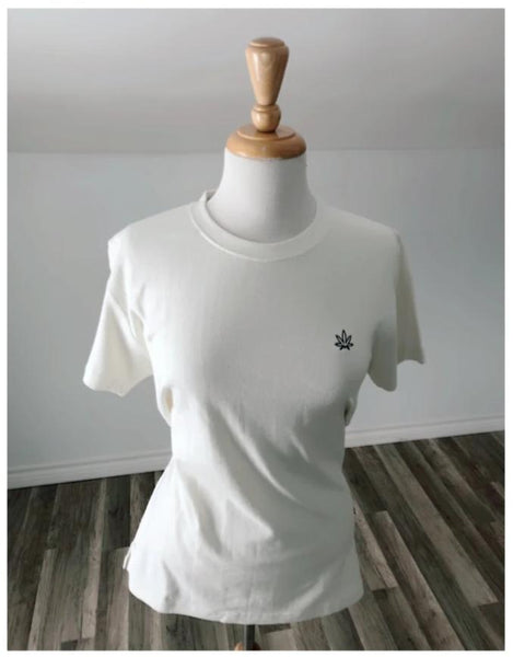 Hemp + Organic Cotton Whits Tee Shirt with Embroidered Leaf Logo