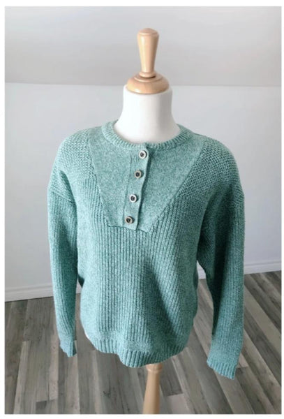 Vintage Blue Henley Knit - Size Medium