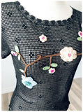 Vintage Hand-crochet Flower Top  - Size Small