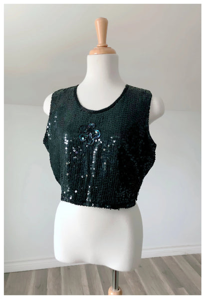 Vintage Black Sequin Tank - Size Small