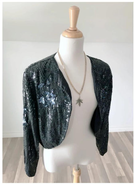 Vintage Black Sequin Jacket - Size Small