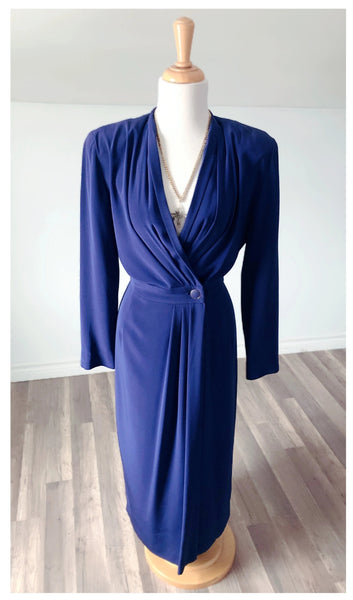 Vintage Blue Wrap Dress with Deep V - Size Small