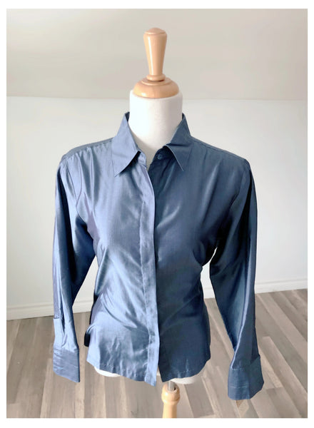 Vintage Blue Raw Silk Button Up - Size Small