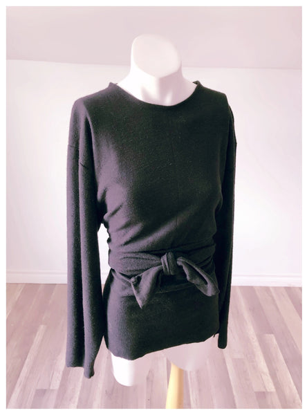 Hemp + Organic Black Cotton Belted Long Sleeve