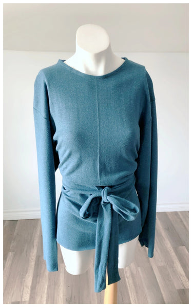 Hemp + Organic Blue Cotton Belted Long Sleeve