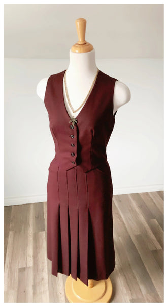 Vintage Handcrafted Burgundy Pleated Skirt - Size 0-2