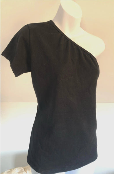 Hemp & Organic Cotton Black One Shoulder Tee